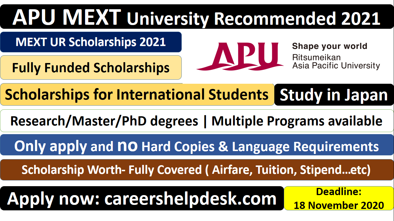 MEXT (UR) Scholarships 2021 | Asia Pacific University Japan (Fully Funded)