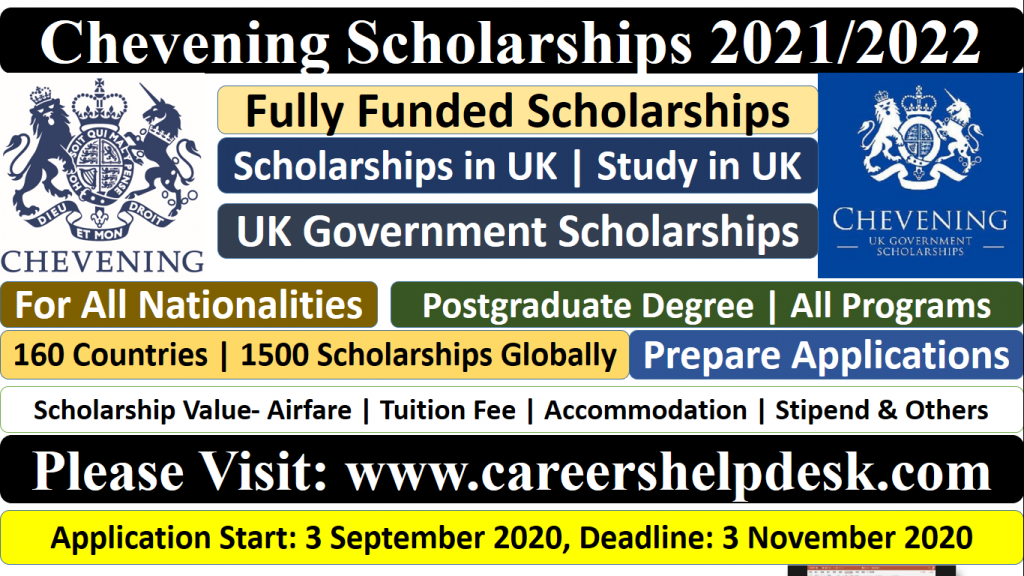 Chevening Scholarships 2021/2022- Study in the UK (Fully ...