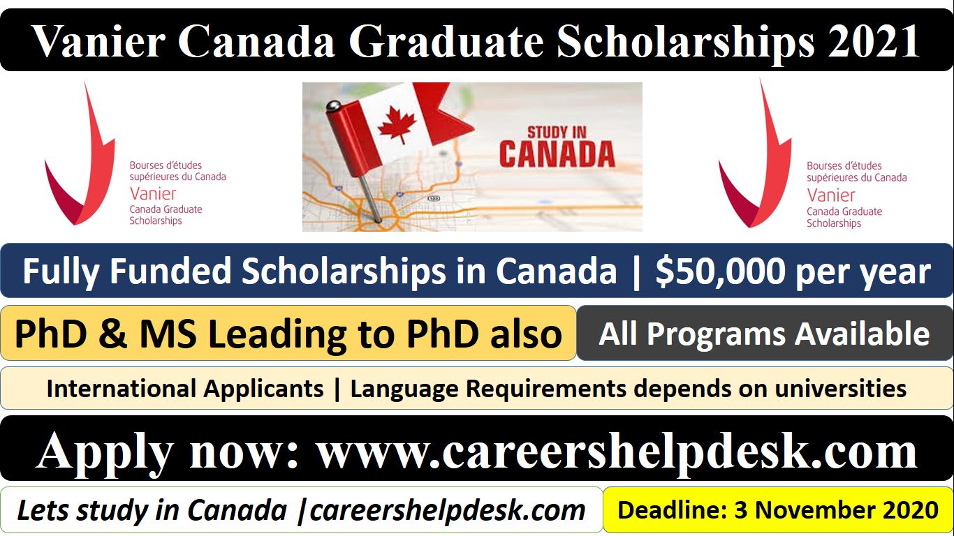 Vanier Canada Graduate Scholarships 2021-Fully Funded