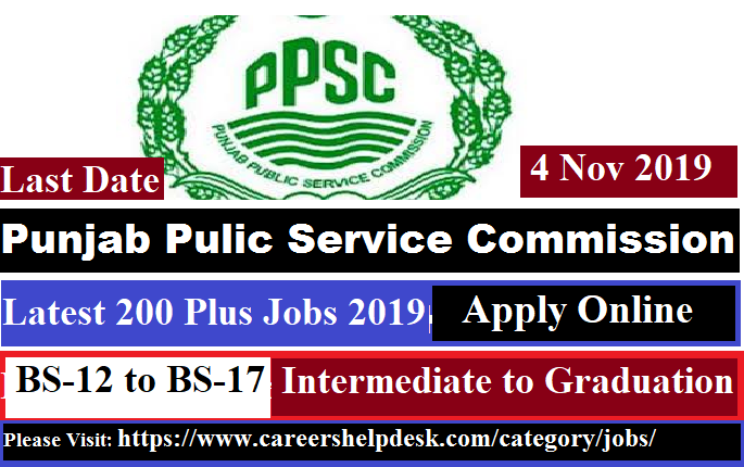 PPSC Latest October jobs 2019
