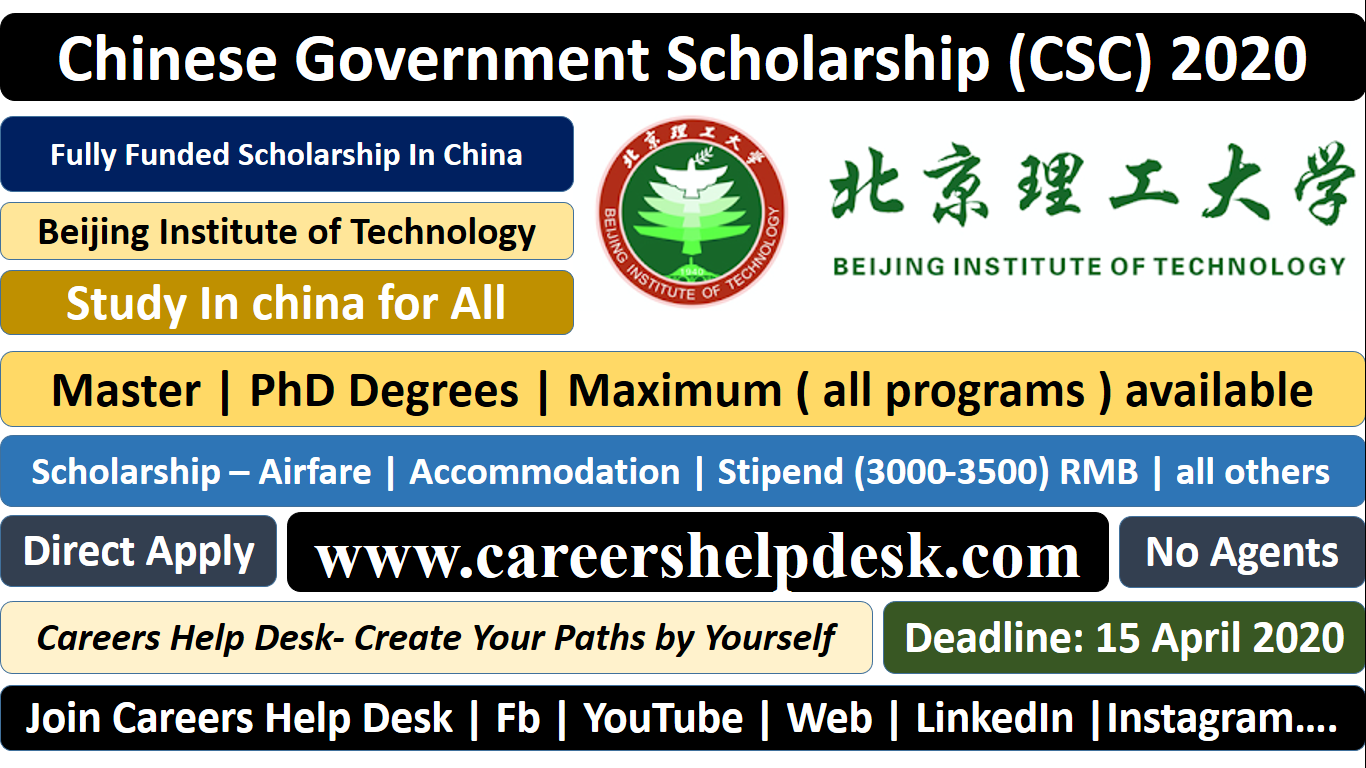 Beijing Institute of Technology-CSC Scholarship 2020 (Fully Funded)