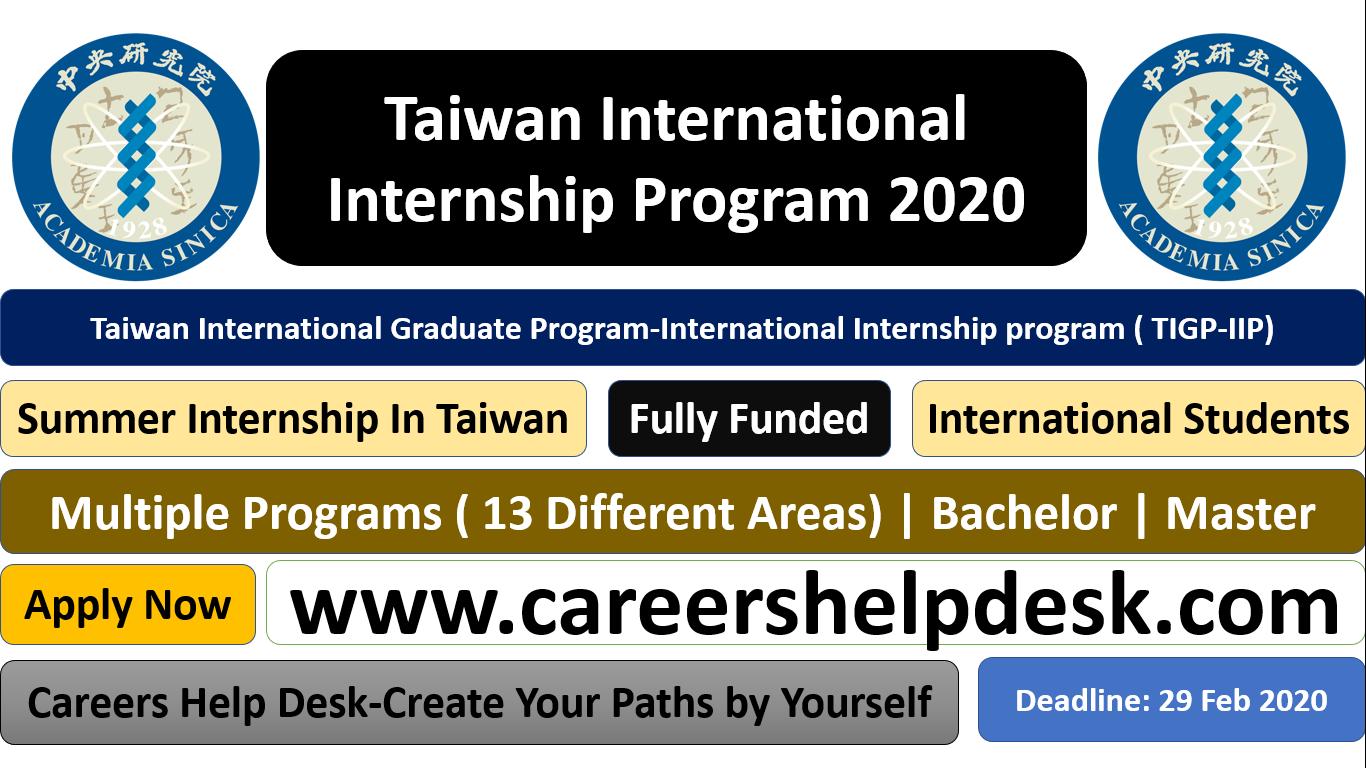Taiwan International Internship Program (TIGP-IIP) 2020