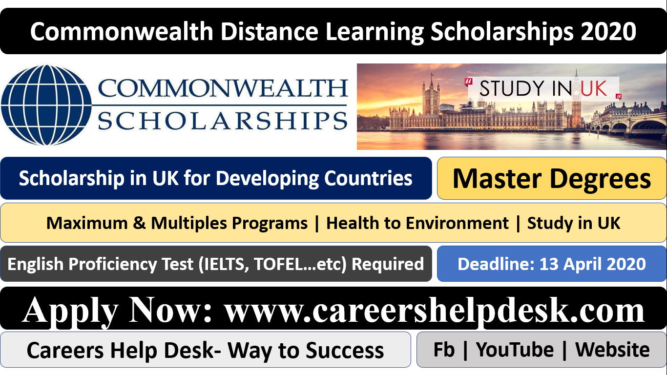 Commonwealth Distance Learning Scholarships 2020 for Developing Countries