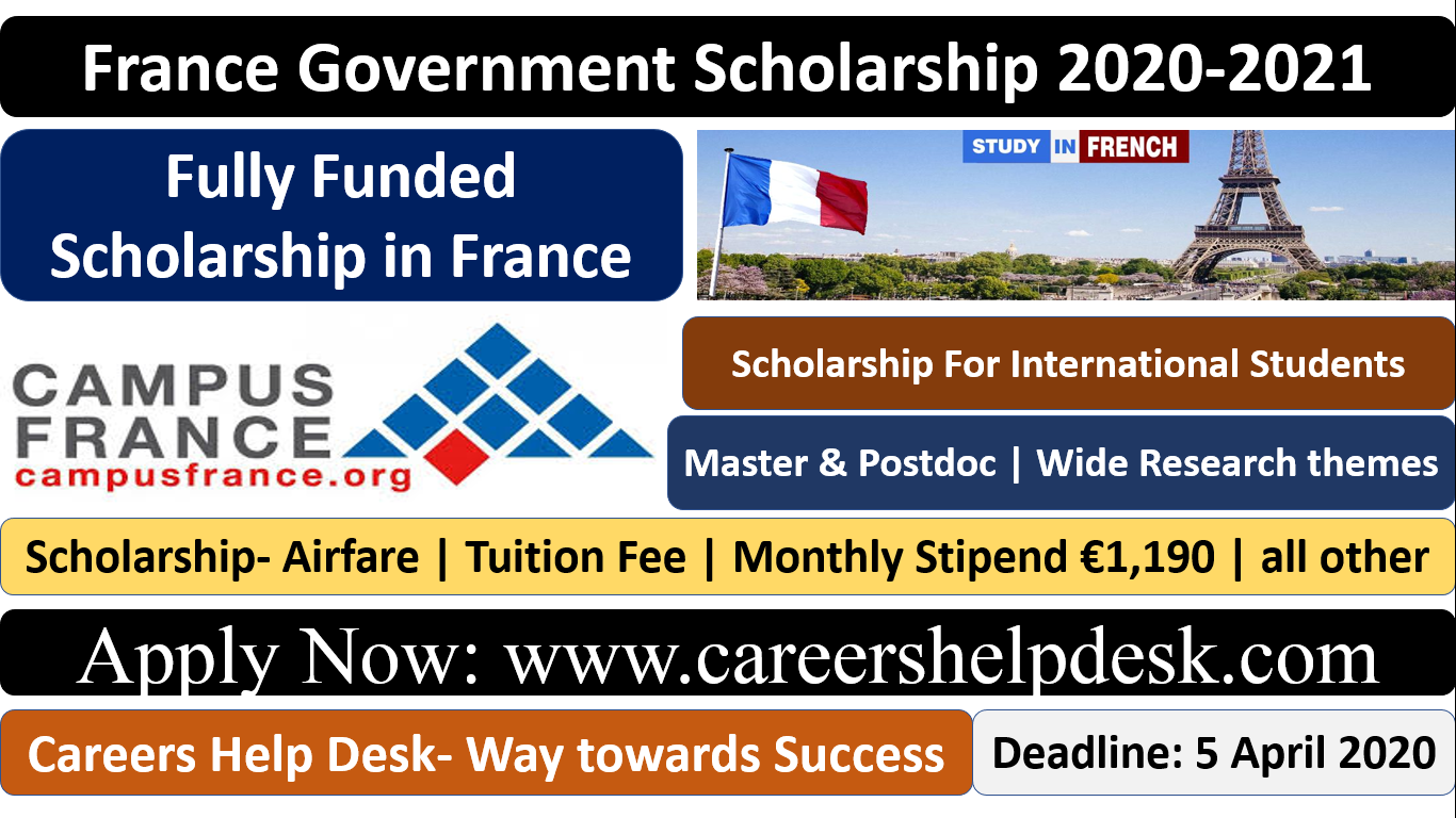 France Government Scholarship 2020-2021 (Fully Funded)