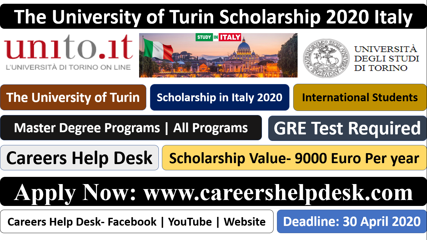The University of Turin Scholarship 2020- Study in Italy