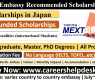 MEXT Embassy Recommended Scholarship in Japan 2022 (Fully Funded)