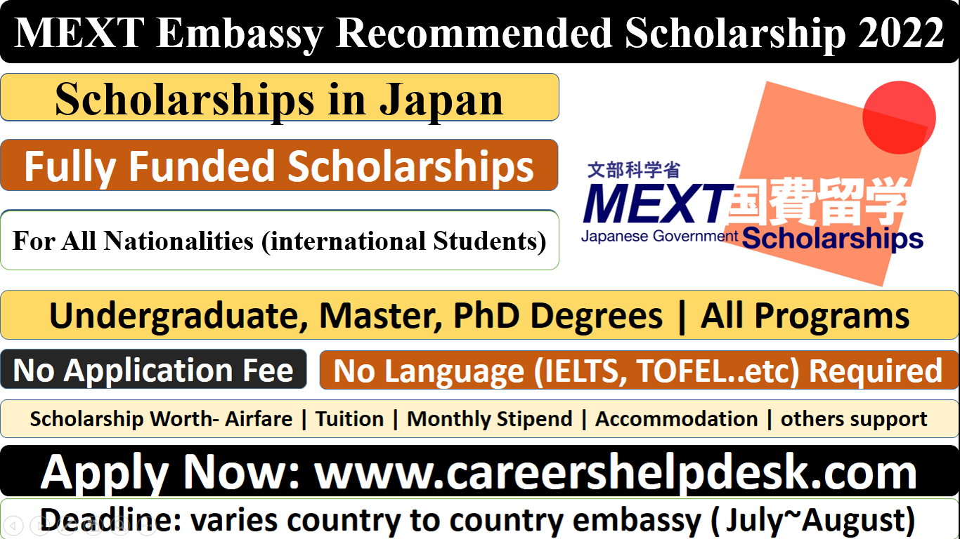MEXT Embassy Recommended Scholarship 2022