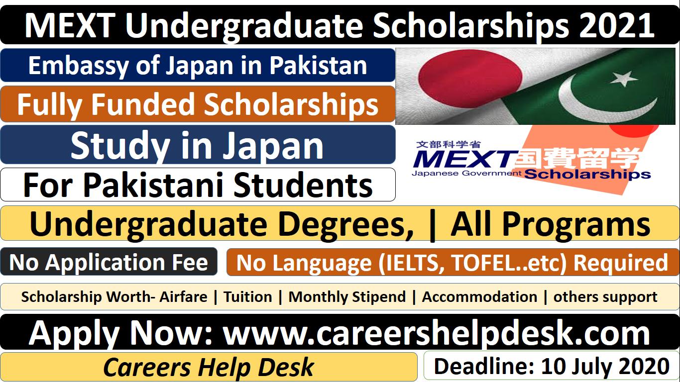 MEXT Undergraduate Scholarships 2021 For Pakistani Students
