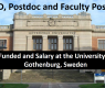 50 PhD, Postdoc and Faculty Positions at University of Gothenburg, Sweden