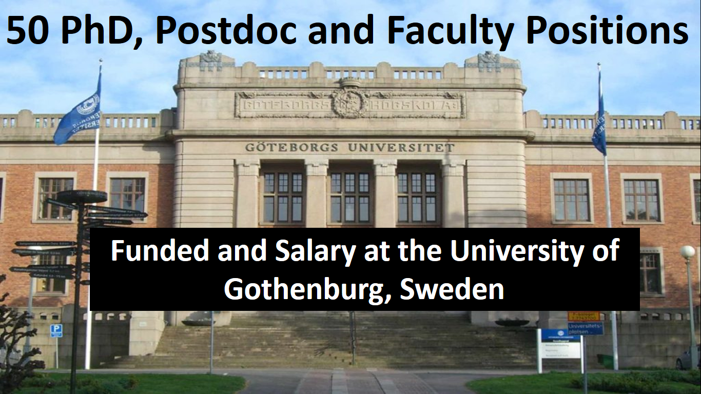 University of Gothenburg, Sweden Funded Positions