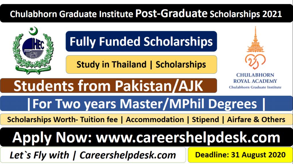 Chulabhorn Graduate Institute Post-Graduate Scholarships ...
