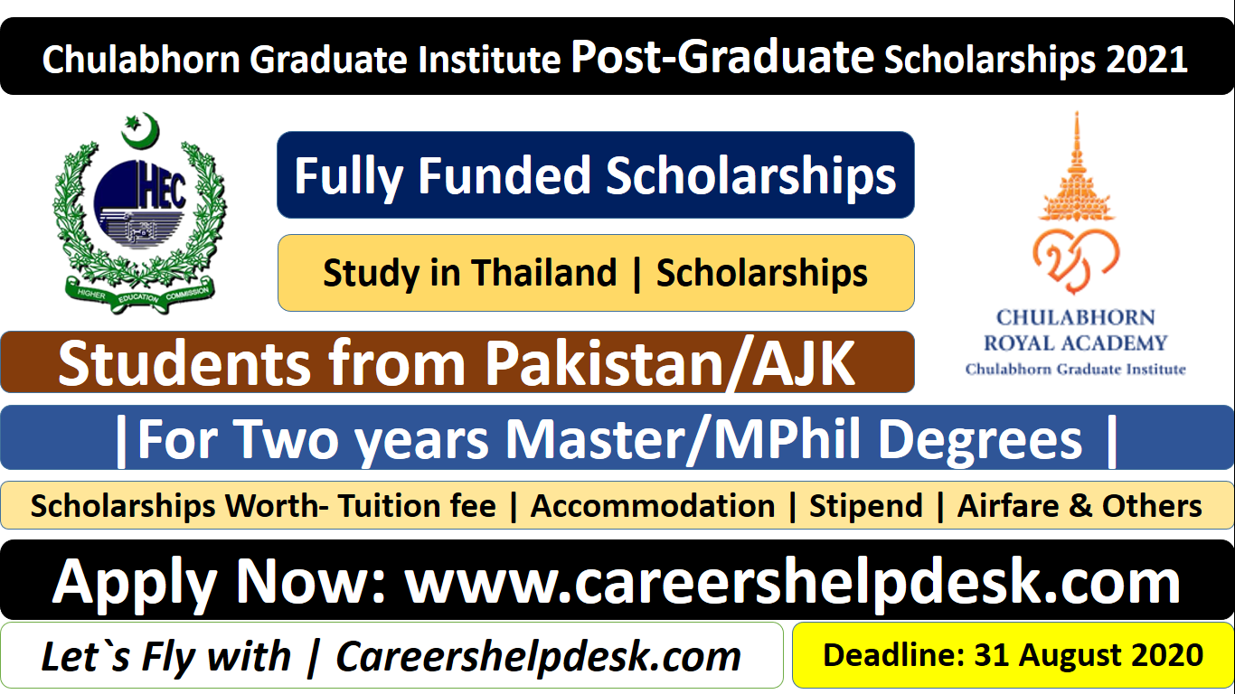 Chulabhorn Graduate Institute Post-Graduate Scholarships 2021 for Pakistan Students