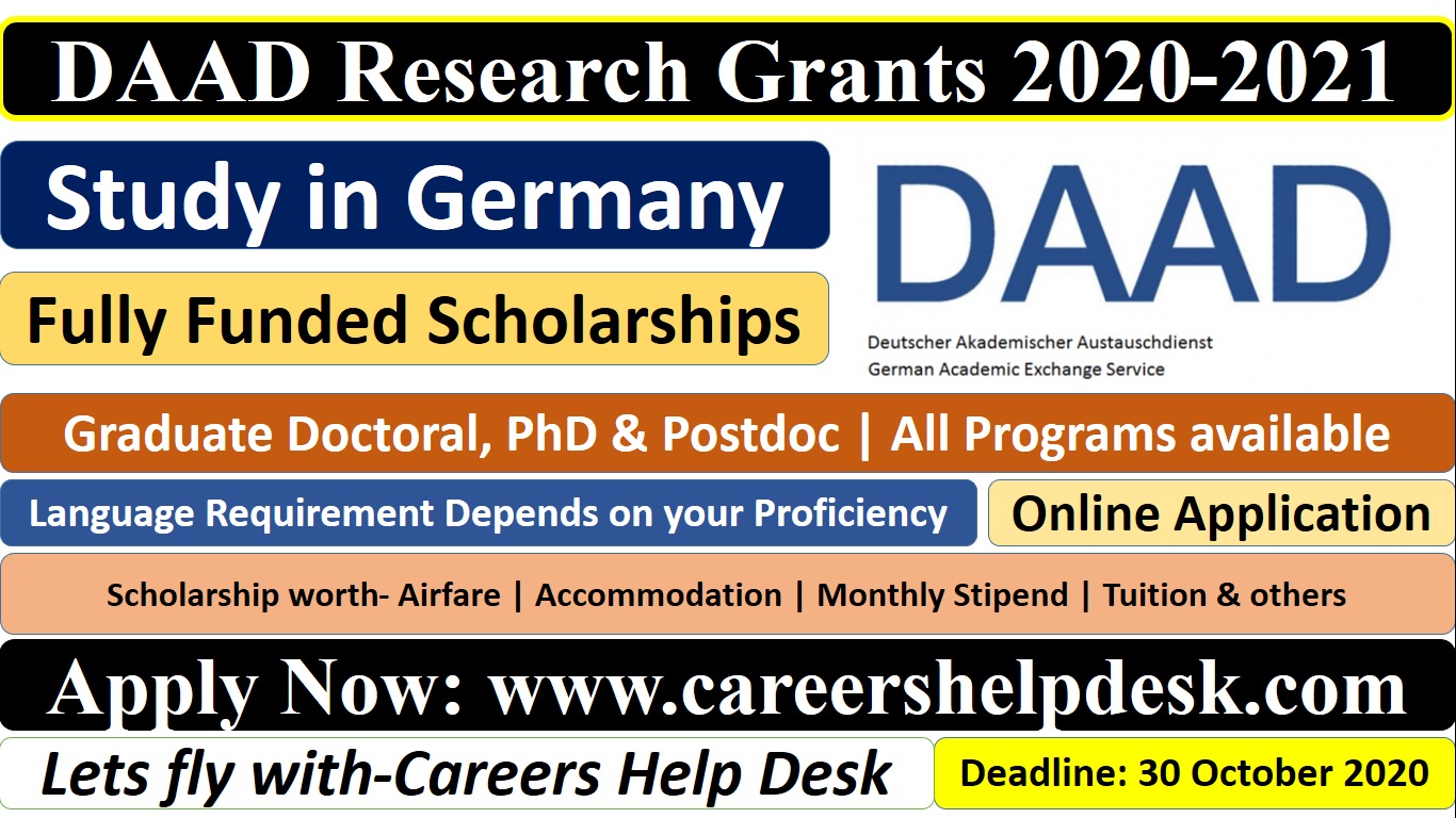 DAAD Research Grants 2020-2021 (Fully Funded)-Study in Germany