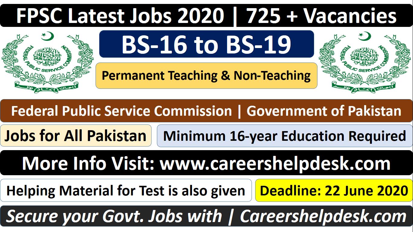 FPSC Latest jobs 2020- 725 Plus Vacancies
