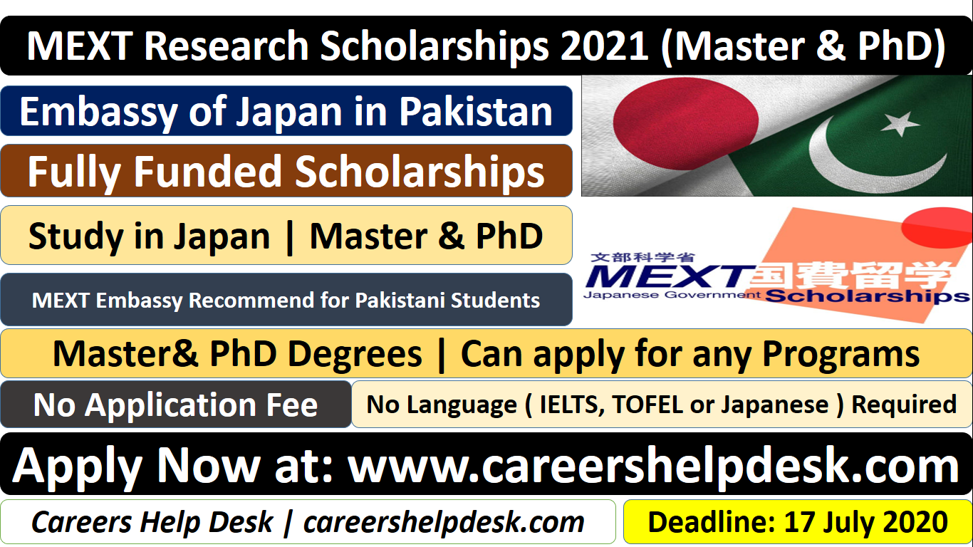 MEXT Research Scholarships 2021 (Master & PhD) for ...