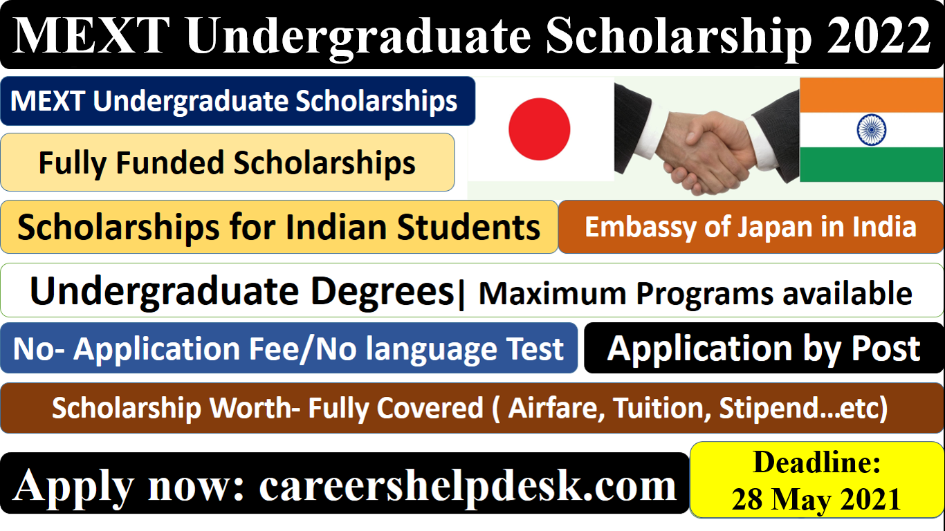 MEXT Undergraduate scholarship for indian students in japan