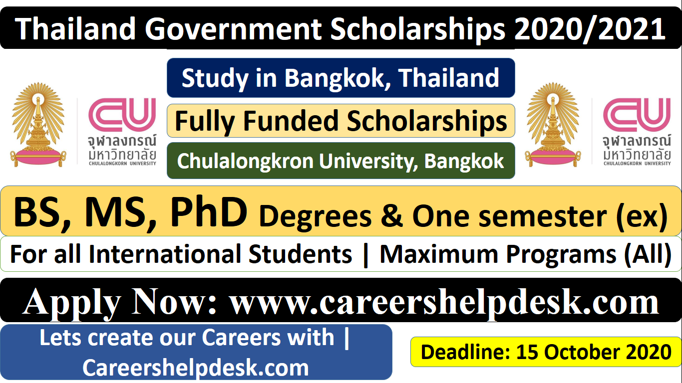 Thailand Government Scholarships 2020/2021 for ...