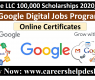 Google LLC 100,000 Scholarships for Google Digital Jobs Program