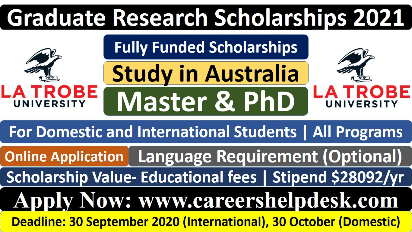 Graduate Research Scholarships at La Trobe University, Australia