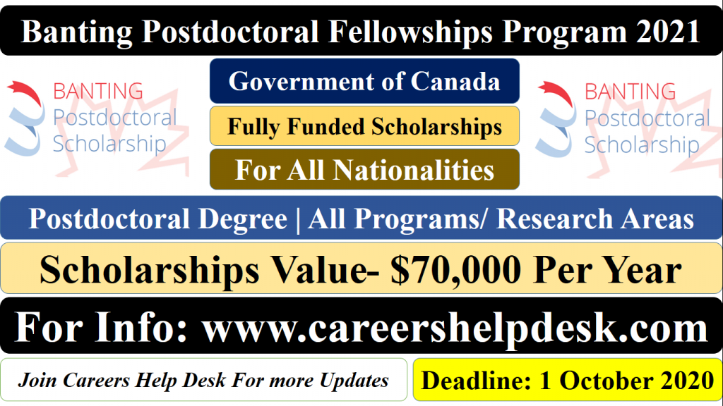 Banting Postdoctoral Fellowships 2021 | Government of Canada