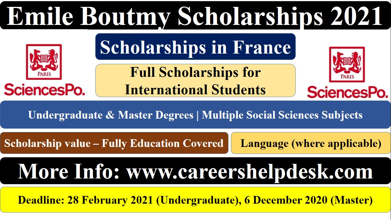 Emile Boutmy Scholarships 2021 | Scholarships in France
