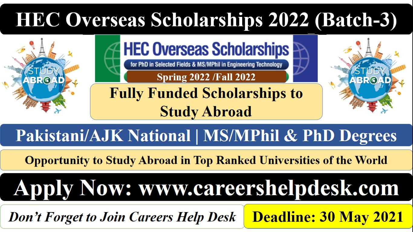 HEC Overseas Scholarships 2022