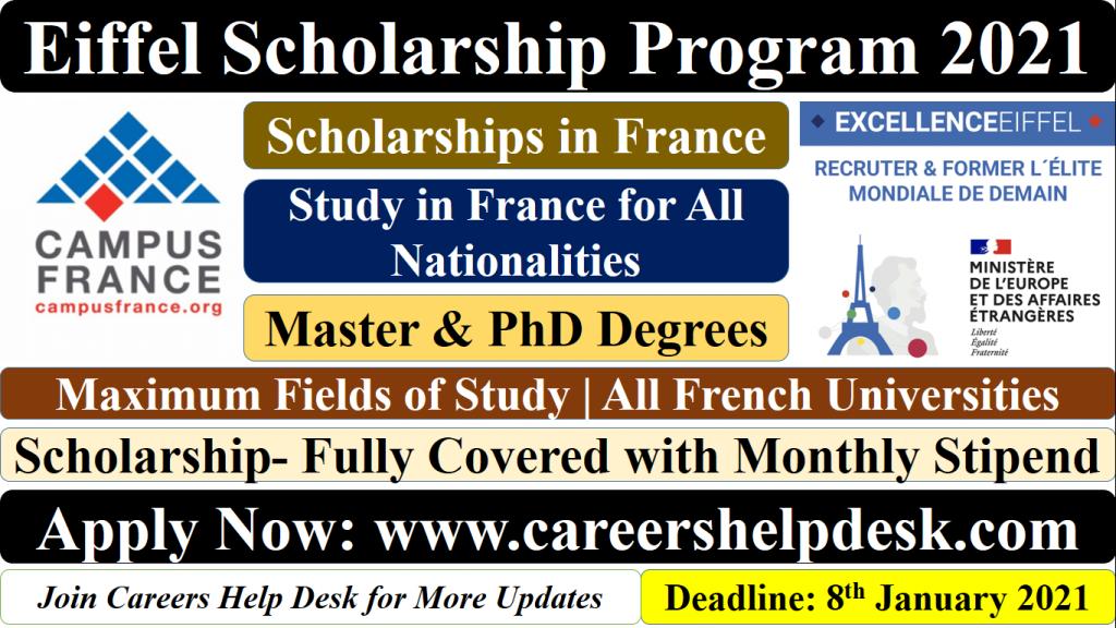 Eiffel Scholarship 2021 for International Students ...