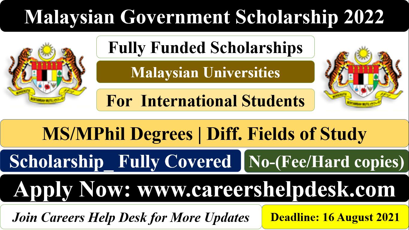 Malaysian Government Scholarship 2022